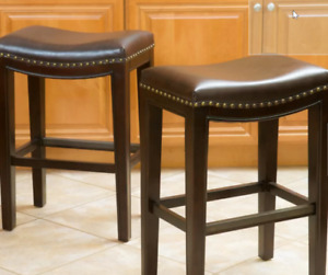 """Bar Stools - Garry 26"""", Wood, Brown, 6 stools, NEW IN BOX !!!!"""