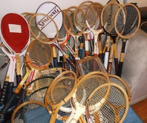 VINTAGE WOOD, METAL AND GRAPHITE TENNIS RACKETS FOR COLLECTORS