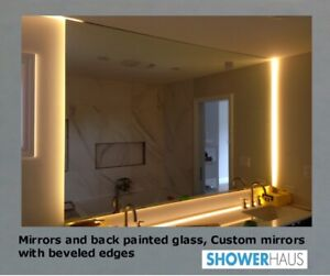 Bathroom Mirrors, Custom Mirrors w. beveled edges, Painted Glass