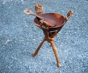 2 foot tall Folding Stand with Wood Bowl and Carved Elephants