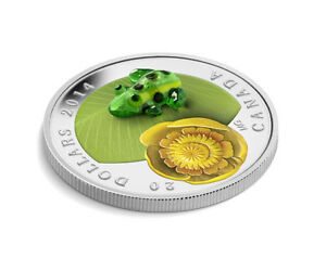 Fine Silver Coin - Water-lily and Venetian Glass Leopard Frog
