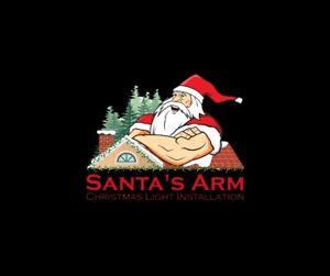 Santa's Arm Christmas Light Installation