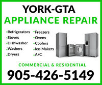TOP QUALITY APPLIANCE REPAIRS & REFRIGERATION IN YORK!