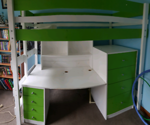 King single size loft bed with desk