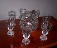 Vintage Etched Glass Pitcher w/7 Candlewick water Glasses