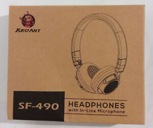 New Red Ant SF-490 Wired Headphones with In-Line Microphone