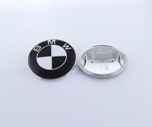 New Car Hood Front Rear BMW Emblem in Black Logo Badge 82mm 74mm
