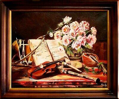 Gemälde Musikinstrumente Handarbeit Ölbild Bild Ölbilder Rahmen Bilder G04892 ()
