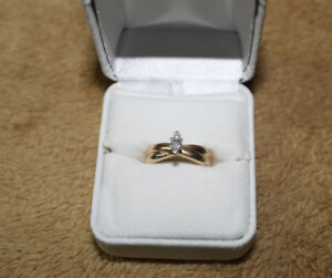 14K gold solitaire engagement ring marquise cut with appraisal