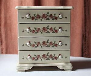 3 Drawer Jewelry Box Painted Flowers Condition Very Good