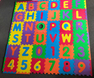 "Floor Alphabet and Numbers Puzzle Play Mat, 36 Tiles (12"") Used"