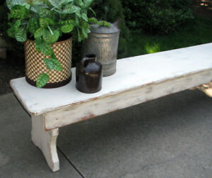 "OLD VINTAGE SHABBY CHIC 88""LONG INDOOR WOOD BENCH"