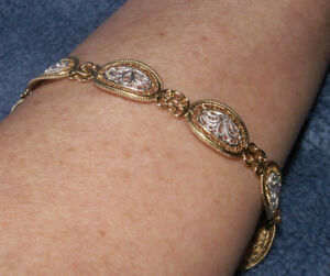 Beautiful Filigree Bracelet, 24K Plate over Sterling Silver