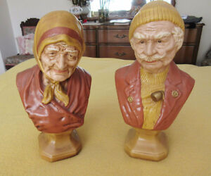 Ceramic OLD MAN & WOMAN Bust Statues - Hand Painted