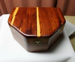 Men's or Lady's Vtg. Jewelry box Solid Wood 2 Removable Shelves