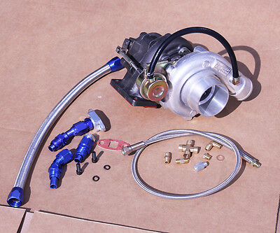 T3/T4 T04E V-BAND TURB0CHARGER/ TURBO COMPRESSOR STAGE 3 450+ W/ OIL LINE KIT