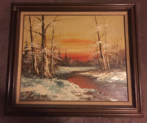 G. Whitman signed landscape oil painting