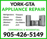 TOP QUALITY APPLIANCE REPAIRS IN YORK-- 905-426-5149