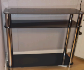 Black Glass 3 Tier Console / Coffee table- Excellent Condition
