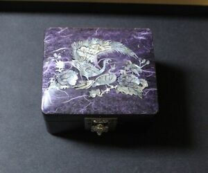 Mother of Pearl Trinket-Jewelry Box Peacock Beautiful
