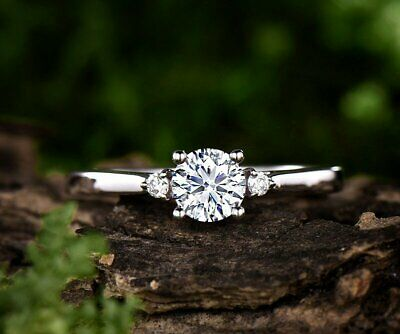 Moissanite Ring 1.5 ct Round Cut Near White Engagement Ring in 14k White Gold Fn