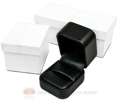 3 Piece Black Leather Metal Ring Jewelry Gift Boxes 2 X 2 38 X 1 34