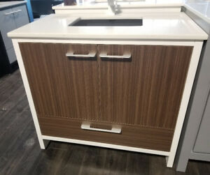 "36"" Solid Wood Vanity with Quartz Top, SINGLE sink - Hot Deal!"