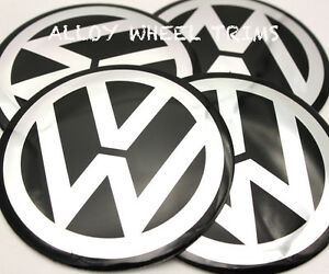ALUMINIUM-VW-Wheel-Centre-Caps-Badge-Stickers-Logo-120mm-12CM-GOLF-PASSAT