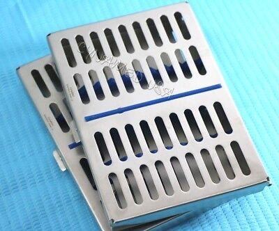 Set Of 2 Dental Autoclave Sterilization Cassette Rack Box Tray For 10 Instrument