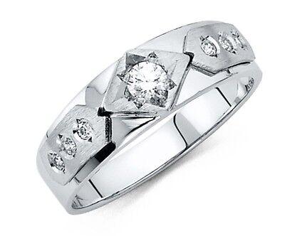 6 mm Round Cut Diamond Men's Wedding Band 14k Solid White Gold Ring  Cut White Diamond Band