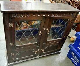 Solid oak vintage bookcase display cabinet. Perfect shabby chic project