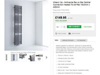 designer, milano via, anthracite, tube on tube, towel radiator. 1800x400mm