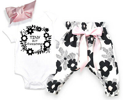 US Seller Hot Newborn Baby Girls Flower Bodysuit Romper Pants Outfit Set Clothes - Girls Hot Clothes