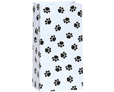 Food Gift Packaging - 250 White Paw Print paper gift bags food packaging quality wholesale bulk 5x3x9
