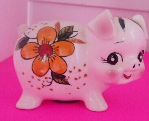 "Pig ""Piggy"" Bank - Ceramic  Glazed - Floral Flowers Bank 6"" L X 4.5"" Tall"