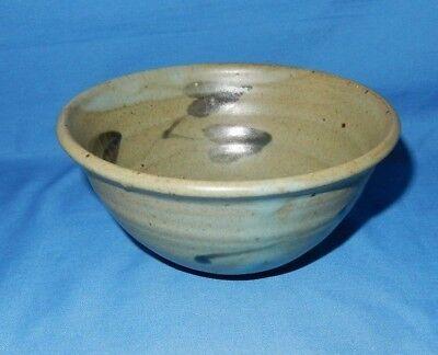 """5 3/4"""" Celadon Green Handthrown Pottery Soup Cereal Bowl Leaf Design Signed"""