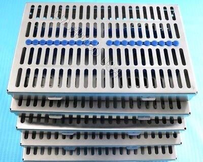 German 5 Dental Autoclave Sterilization Cassette Rack Box Tray For 20 Instrument