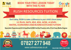 11 PLUS, MATHS, SATS, ACA, ECONOMICS ONLINE TUTOR TUITION (KS1, KS2, KS3, GCSE) 1ST LESSON FREE!
