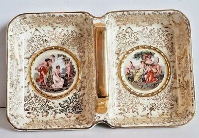 Jam Tray - Empire England gold Vintage dual dish butter jam tray candy handled stamped B249