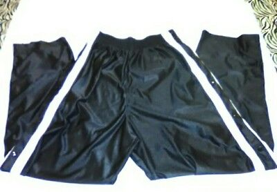 Hibbett Sports Black White Track Pants Side Snaps Workout Running Cycling Lounge