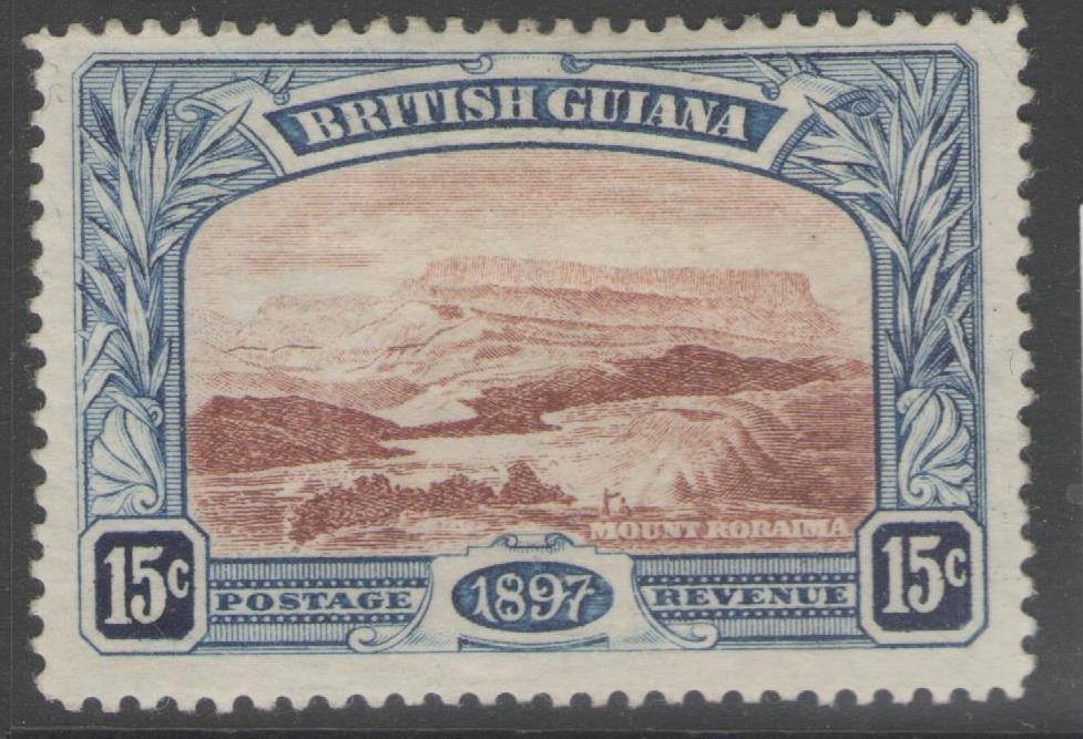BRITISH GUIANA SG221 1898 15c RED-BROWN & BLUE MTD MINT