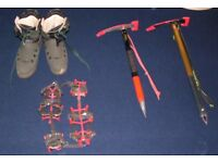 Mountaineering gear (Boots, Axes, Crampons and Rucksack)