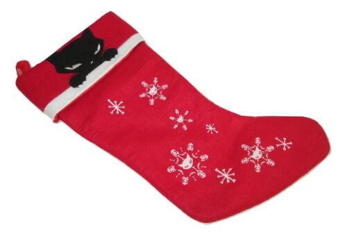"""Emily The Strange Cat Christmas Stocking 18"""" Red Felt"""