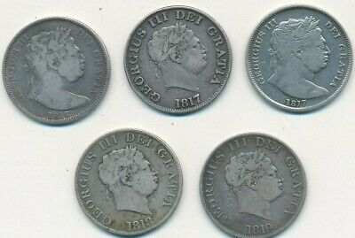1816-1819 GREAT BRITAIN SILVER 1/2 CROWNS HALF CROWNS-5 COINS-FREE S/H! INV:1