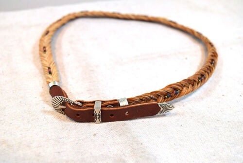 Hand Hitched Horse Hair Hat Band Western Native Design Horsehair w/ Clasp Buckle