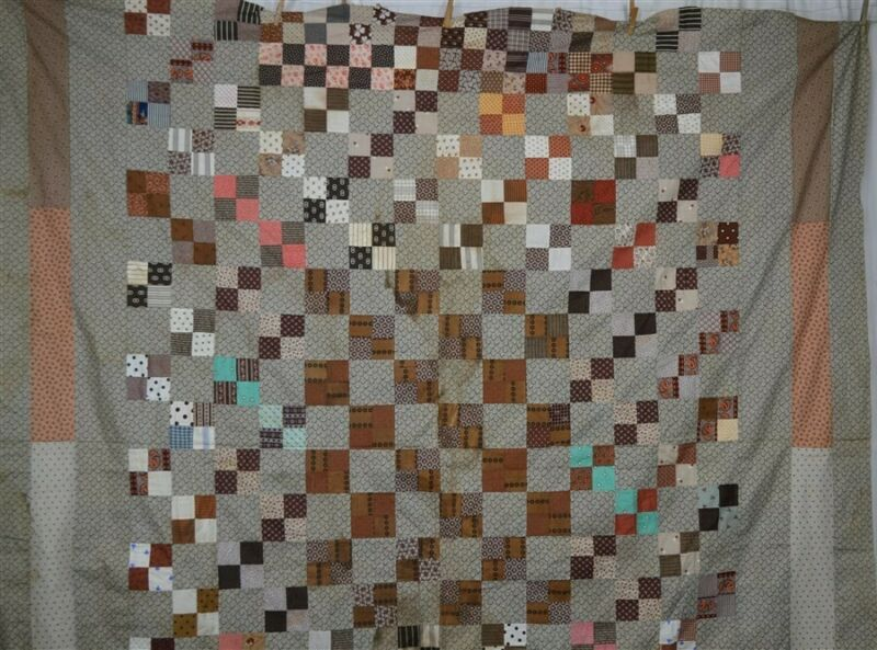 antique quilt top early brown gray patchwork Civil War Era original 19thc 1800