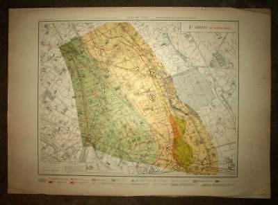 Plan antique card location of the 11eme, XIth district de Paris 1924 rare