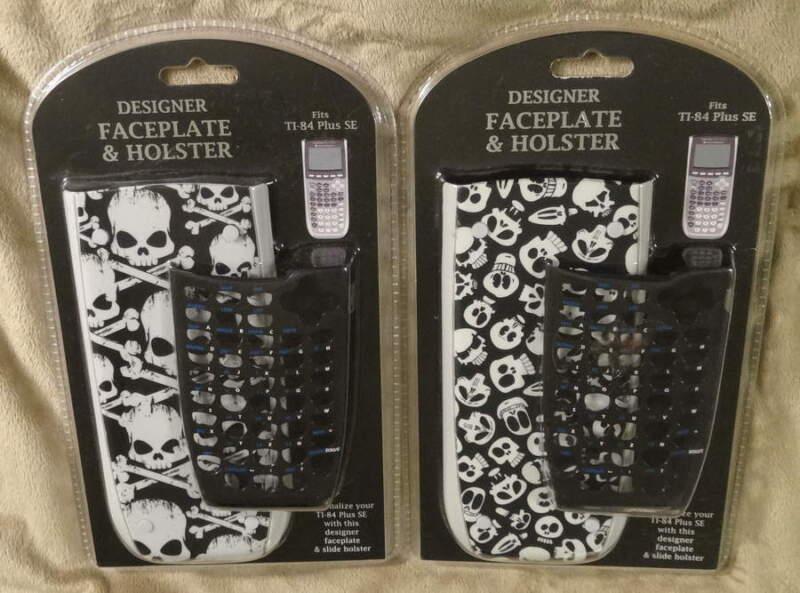 TI-84 Plus SE Designer Faceplate & Holster Lot of 2 Large & Small Skulls New