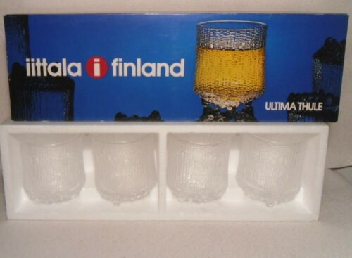 Tapio Wirkkala Vintage Ultima Thule Glasses (4) Original Box Iittala Finland