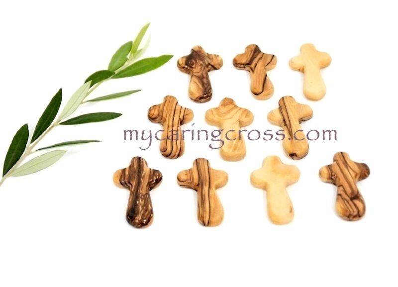 5 SMALL Pocket Holding size Comfort Crosses Made of Genuine Olive Wood Gift